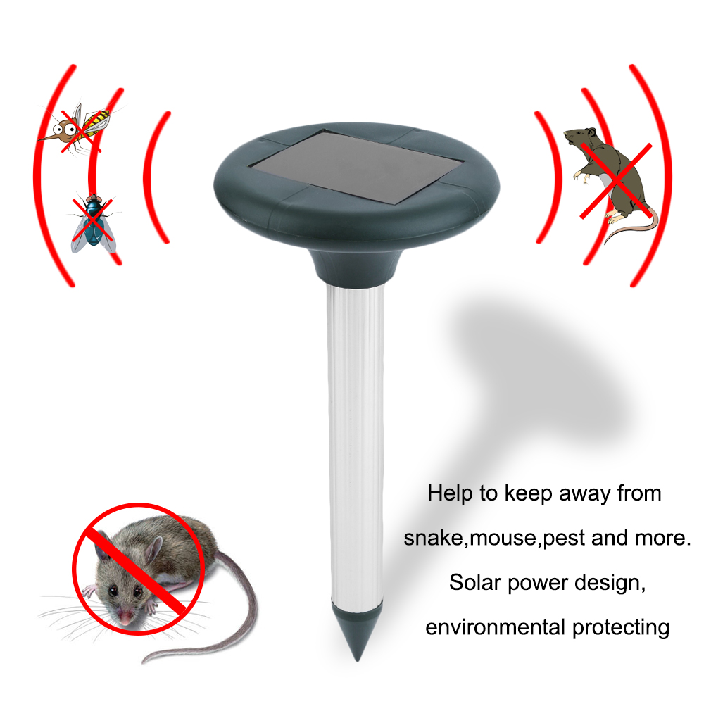2PCS Outdoor Garden Yard Eco-Friendly Solar Power Ultrasonic Sonic Mole Snake Mouse Pest Reject Repeller Repellent