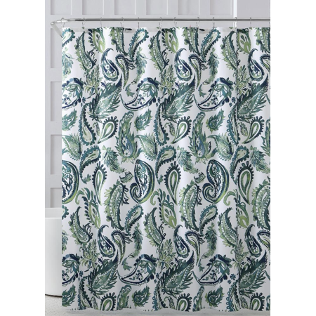Green & Aqua Paisley Designed Fabric Shower Curtain & Hooks