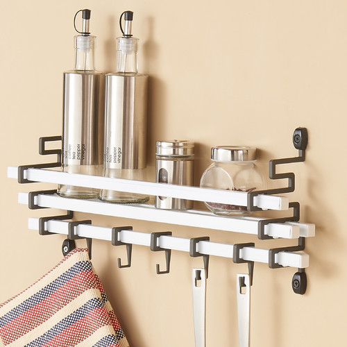 Click here to buy Danya B Metal Wall Mount Spice Rack with Kitchen Utensil Hanging Hook by Danya B.