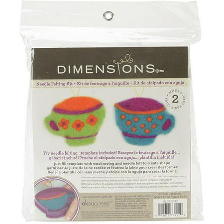 Feltworks Learn Needle Felting Kit-Tea Cups, Pk 1, Dimensions