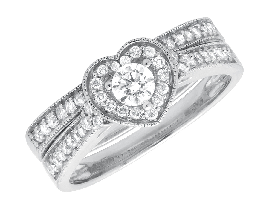14K White Gold Milgrain Heart Shaped Diamond Engagement Wedding Ring Set (0.55ct) by Jewelry Unlimited