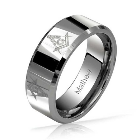 Square Compass Freemason Masonic Titanium Wedding Band Ring For