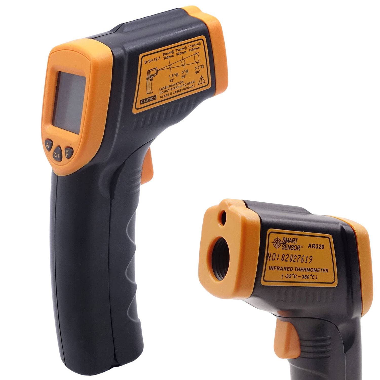 TrendBox AR320 Digital Laser Infrared Thermometer Temperature Gun Measurement IR Point Industrial Non-Contact -32~380℃/ -26~716°F with LCD Screen Food Testing Ventilation