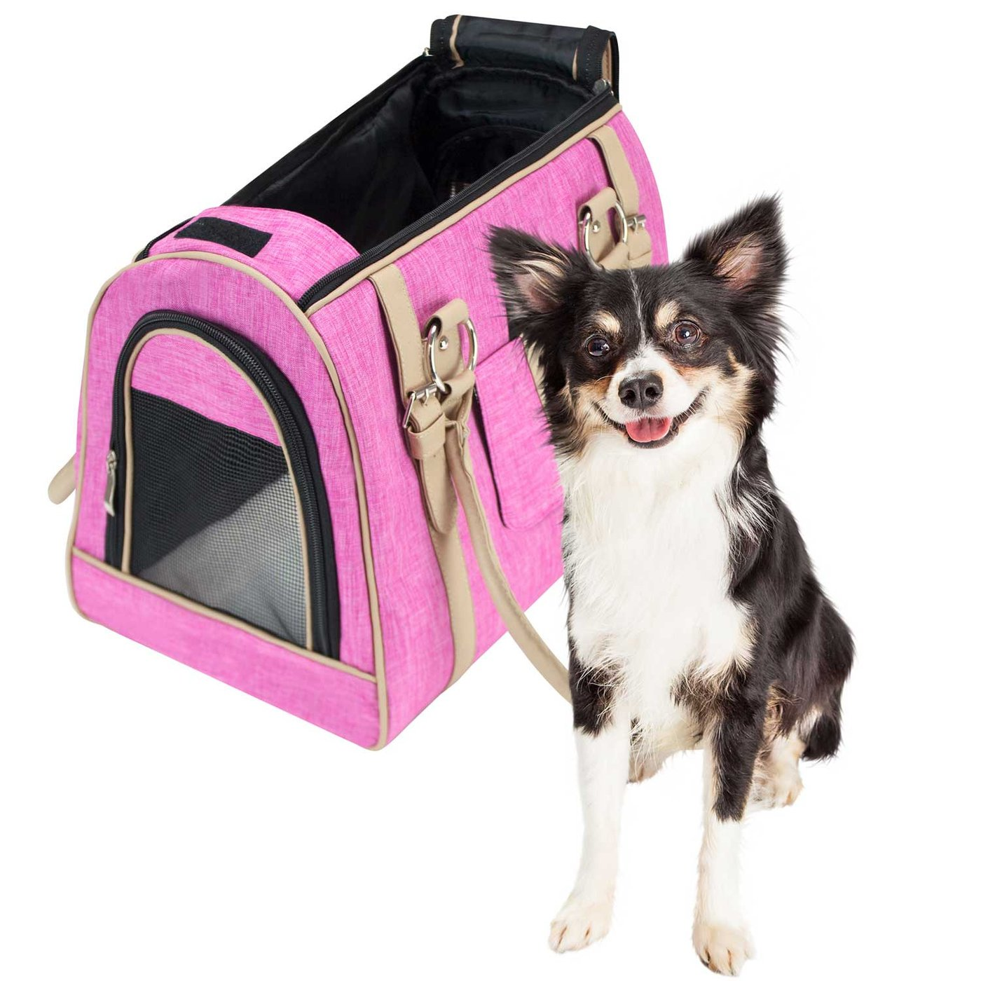 Freahap Pet Carrier Bag Oxford Pet Carrying Bag Zippered Tote Bag for Cats Small Dogs Pink S