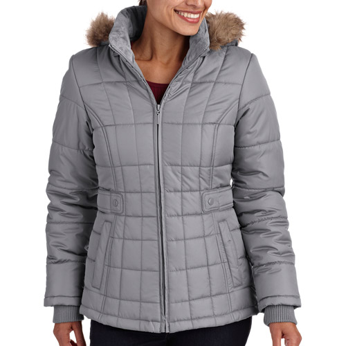 Faded Glory Women's Faux Fur Hooded Puffer Coat