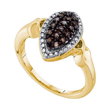 10kt Yellow Gold Womens Round Cognac-brown Color Enhanced Diamond Oval Cluster Ring 1/5 Cttw - image 1 de 1