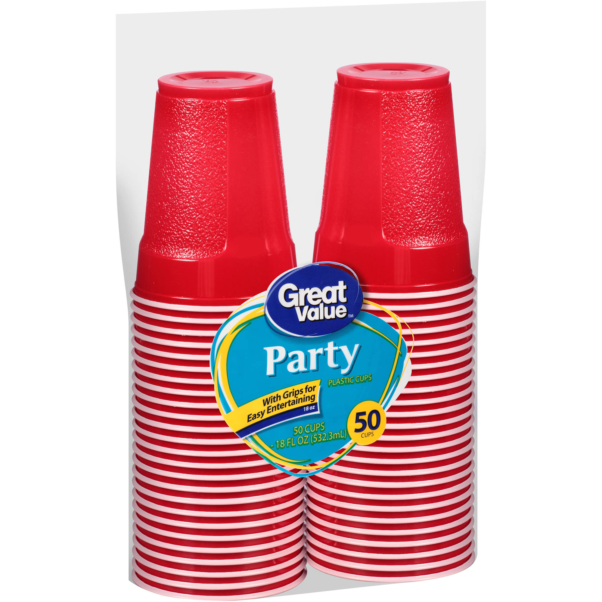 Great Value 18 Oz Grip Party Cups, 50ct