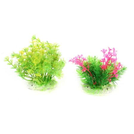 Unique Bargains Aquarium Water Plastic Artificial Grass Plant Decor Green Pink 5  Height 2 Pcs - image 3 of 3