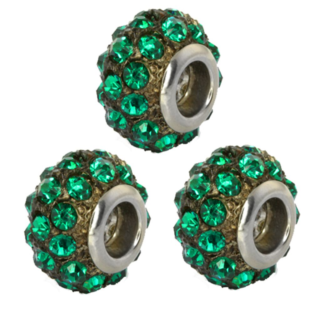 Set of Three 14mm Round Green Pave Crystal Disco Ball Fits with Beads and Charms