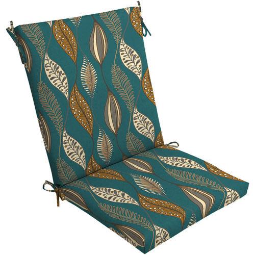 Mainstays Dining Chair Outdoor Cushion Turquoise Leaf