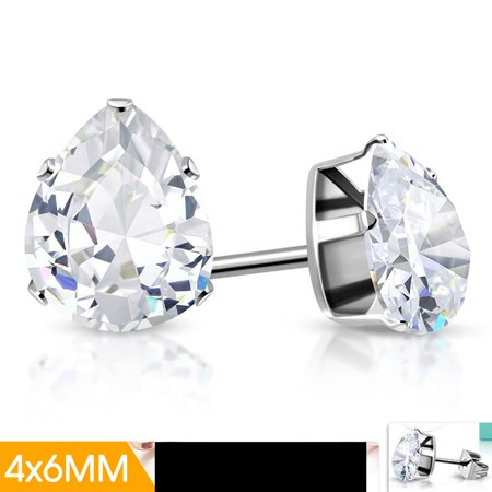 Series Stainless Steel Drop - 4x6mm Stainless Steel Prong Set Pear Teardrop Stud Earrings with Clear CZ pair