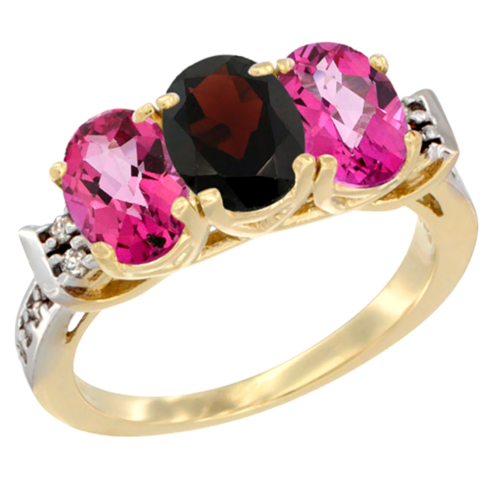 10K Yellow Gold Natural Garnet & Pink Topaz Sides Ring 3-Stone Oval 7x5 mm Diamond Accent, sizes 5 10 by WorldJewels