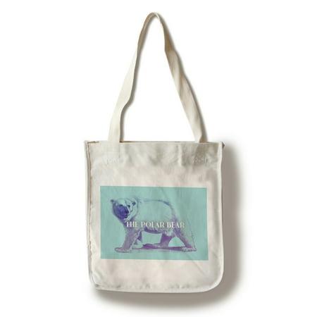 Polar Bear - Neon - Lantern Press Artwork (100% Cotton Tote Bag - Reusable)