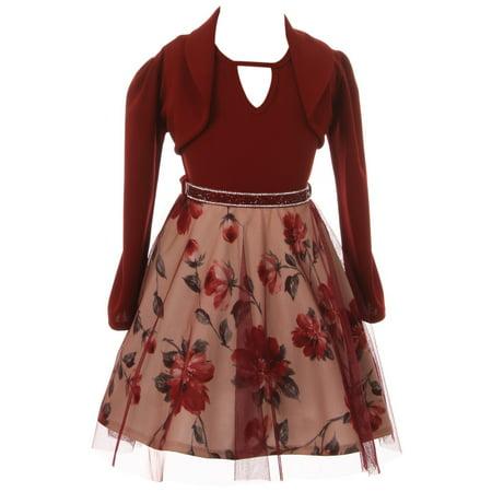 Little Girl 2 Pieces Sleeveless Christmas Holiday Bolero Jacket Flower Girl Dress Burgundy 4 JKS 2147 BNY Corner