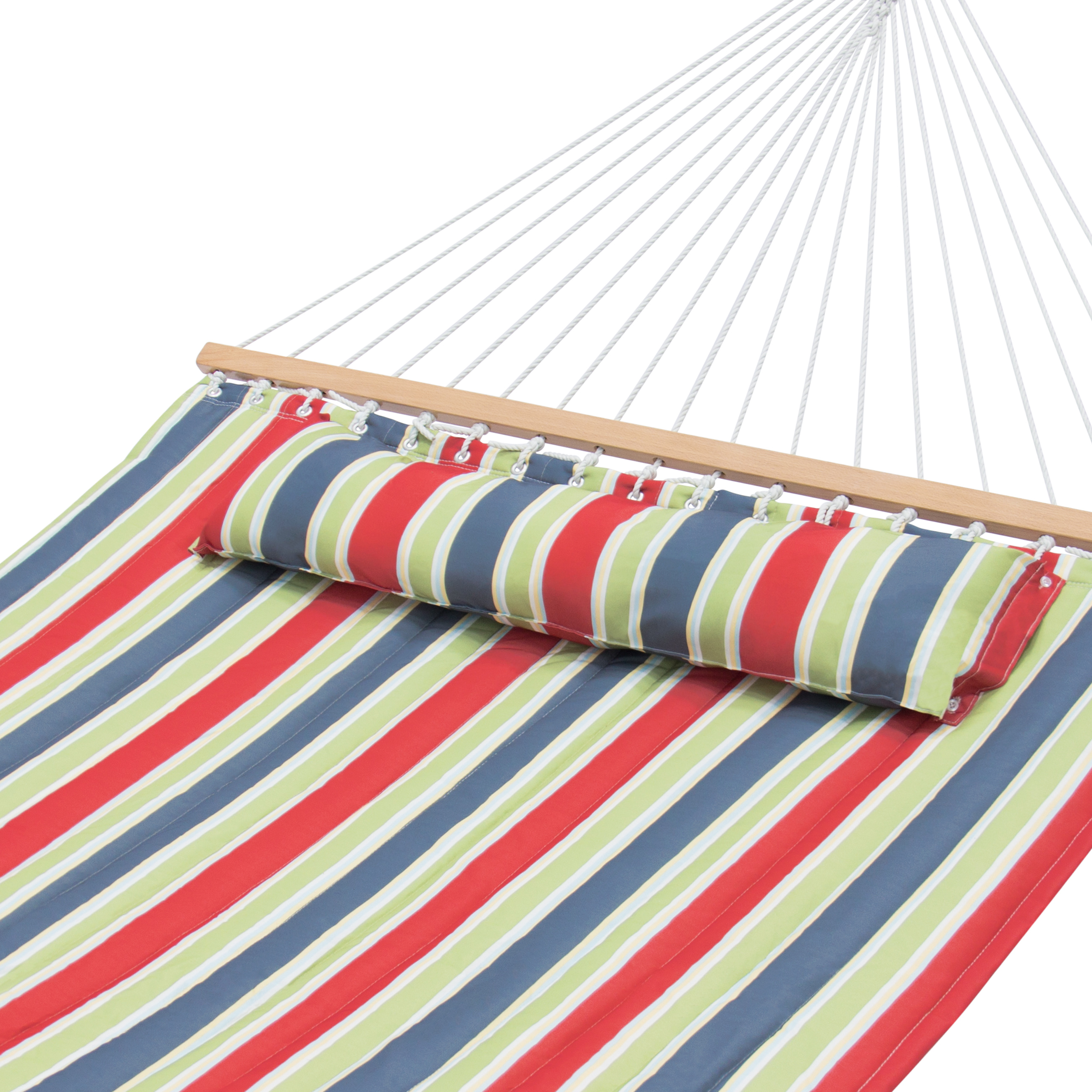 Best Choice Products Quilted Double Hammock w  Detachable Pillow, Spreader Bar Red, Blue, and Green Stripes by Best Choice Products