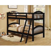 Twin Size Black Finish Wood Convertible Slat Bunk Bed (Arched Twin Over Twin Bunkbed)