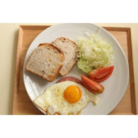 Canvas Print Breakfast Brown Rice Bread Fried Egg Stretched Canvas 10 x