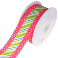 Striped Center and Dotted Edge Satin Ribbon, Hot Pink, 1-1/2-Inch, 10-Yard