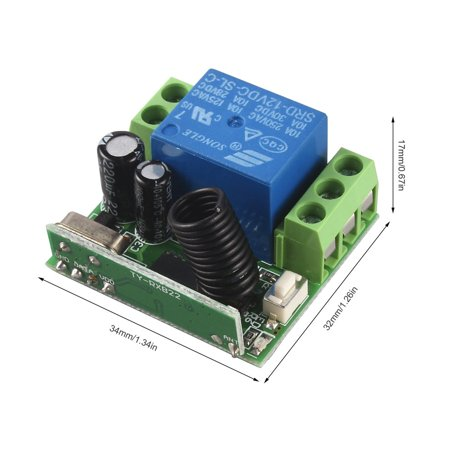 DC 12V 10A Relay 1CH wireless RF Remote Control Switch Transmitter& Receiver - image 2 of 8