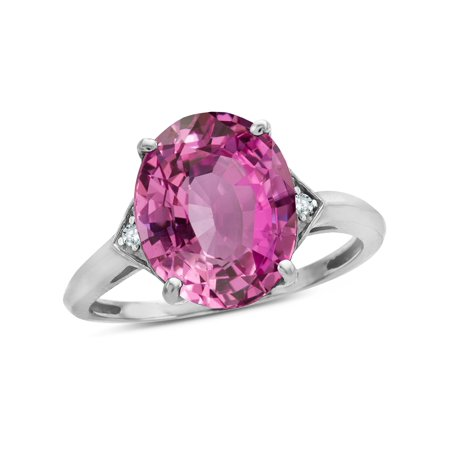 Star K Large Oval 12x10 Created Pink Sapphire 3 Stone Trillion Setting Ring