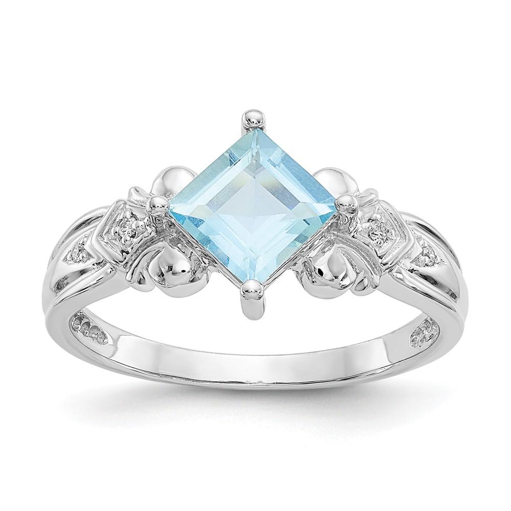 10k White Gold Aquamarine & Diamond Ring. Carat Wt- 0.016ct. Gem Wt- 0.89ct