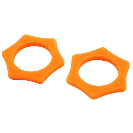 Silicone Hexagon Shape Shake Resistant Microphone Protection Ring Orange 2pcs