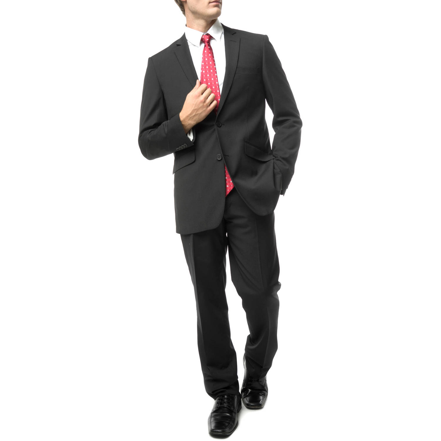 Verno Men's Black Slim Fit Italian Styled Two Piece Suit
