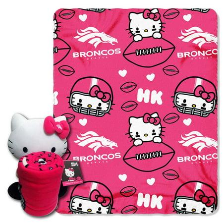 Denver Broncos Hello Kitty Pillow \/ Throw Combo