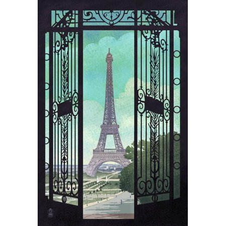 Paris, France - Eiffel Tower and Gate Lithograph Style Urban Architecture Cityscape Print Wall Art By Lantern Press
