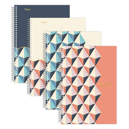 """Five Star Style Wirebound Notebook, 2 Subject, College Ruled, 6"""" X 9 1/2"""", Assorted Designs, 6 Pack (38190) by Five Star"""