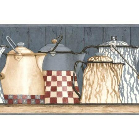 879153 Kitchen Shelf Coffee Pots Wallpaper Border