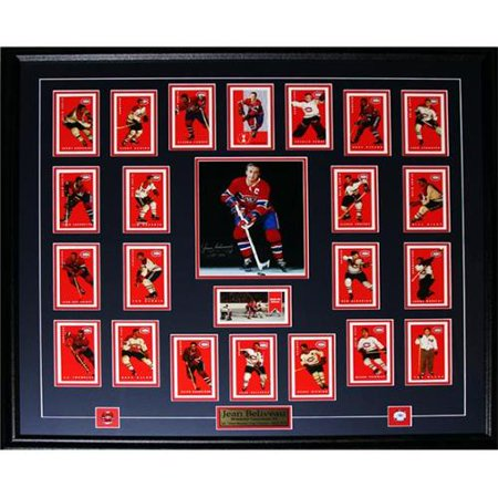 Midway Memorabilia beliveau_8x10_signed_cards Jean Beliveau Montreal Canadiens Signed 8 x 10 frame with Montreal Cards by