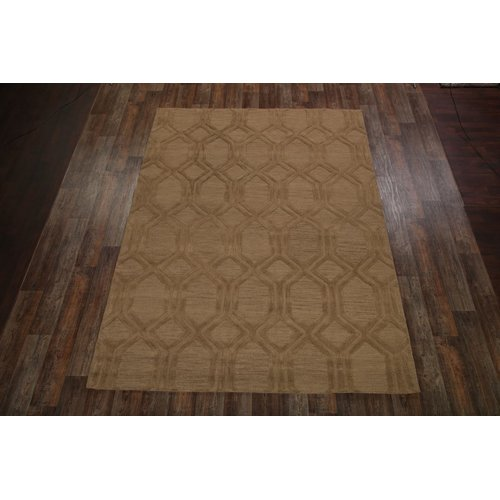 Canora Grey Bovill Trellis Indian Hand Tufted Wool Brown Area Rug