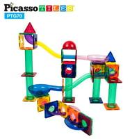 PicassoTiles 70 Piece Marble Run Race Track Magnetic Tiles Magnet Building Block Educational Construction Toy Set Playset STEM Learning Kit Child Brain Development Training PTG70