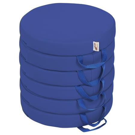 SoftZone® Round Floor Cushion with Handle 6-Piece - Blue