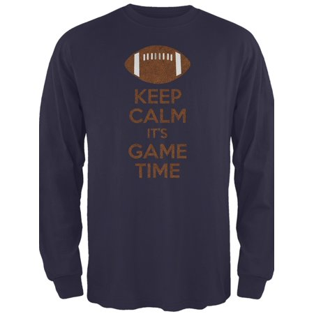 Keep Calm Game Time Football New England Blue Adult Long Sleeve