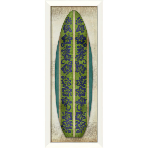 The Artwork Factory Surfboard Hibiscus Longboard Framed Graphic Art in Purple Green and Blue