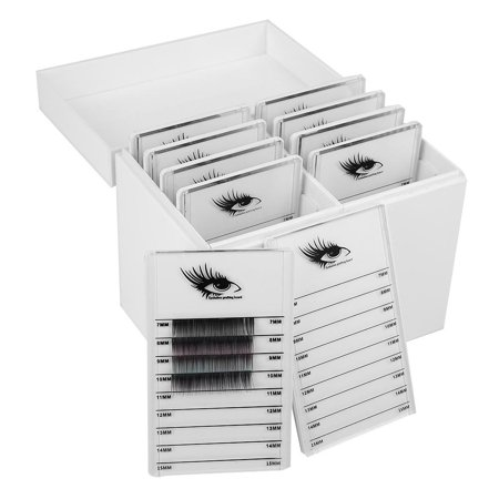 WALFRONT 10 Layers Eyelash Extension Storage Box Makeup False Eyelash Organizer Display Case White - White Eyelashes