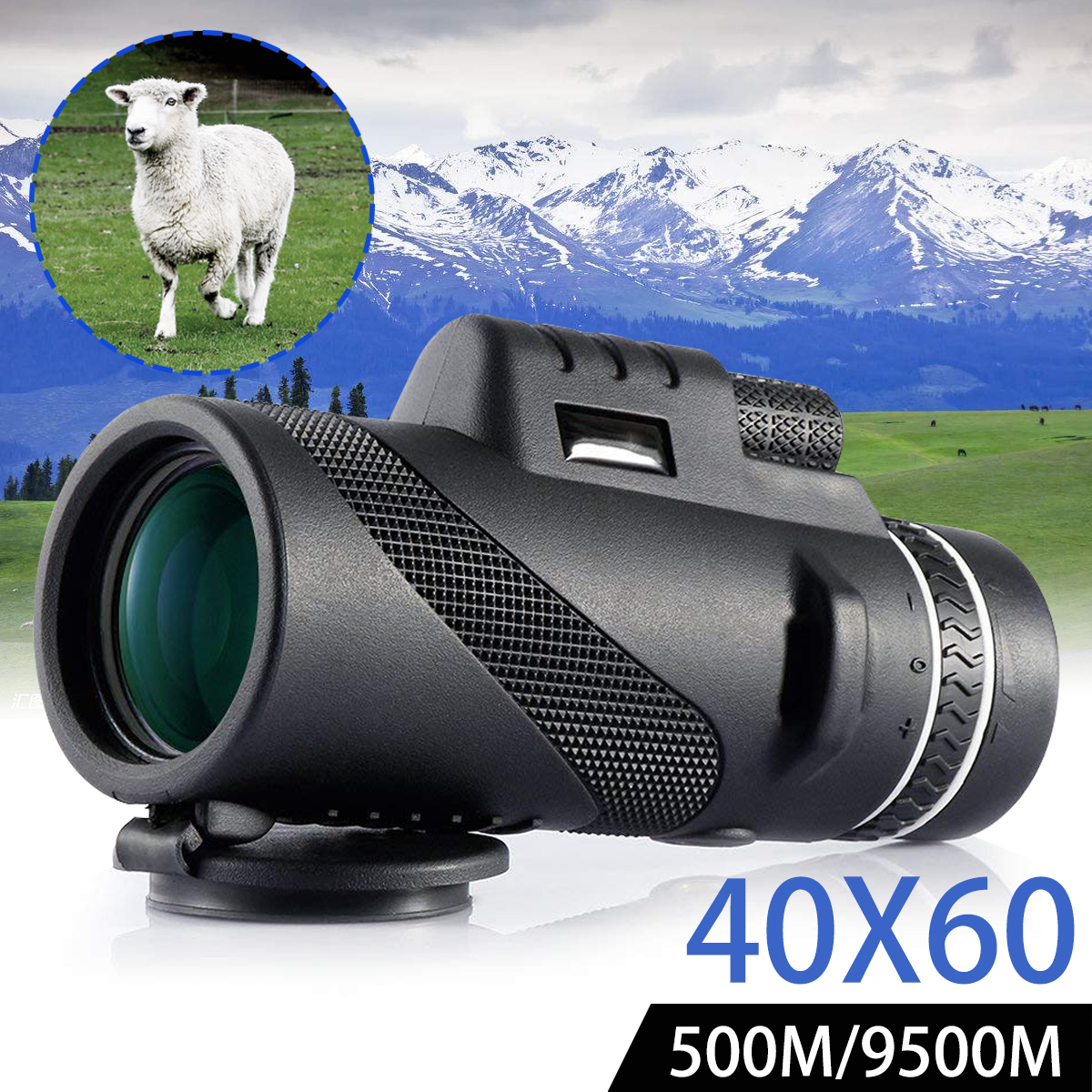 40X60 HD Portable Monocular,Dual Focus Optical Zoom Waterproof Telescope For Hiking Camping Hunting Sightseeing