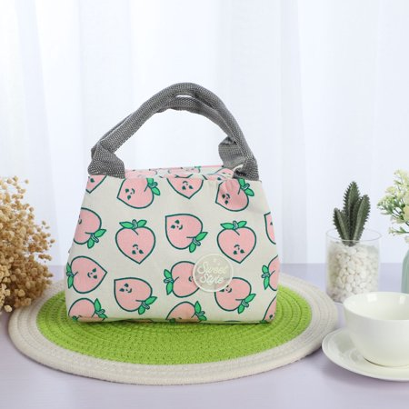 Insulated Lunch Box Warm Cooler Travel Tote Carry Bag White w Peach Pattern - image 2 of 7