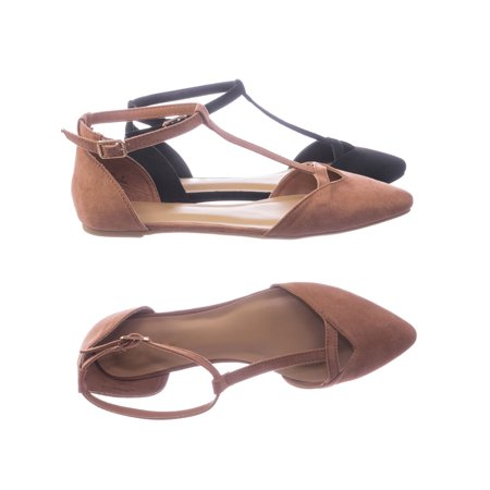 Series40 by Bamboo, Women Flat Pointed Toe Shoes w d'Orsay Double Open Side w Ankle Strap