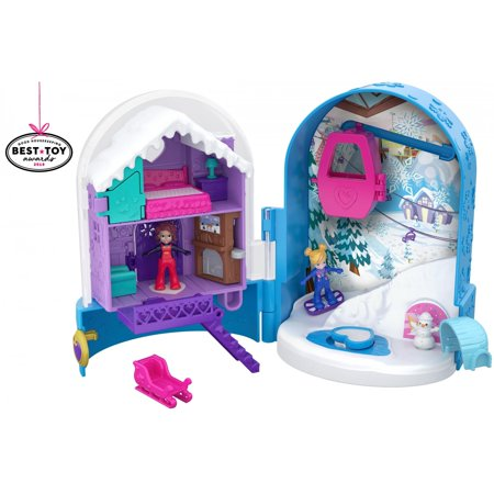 Polly Pocket Mini (Polly Pocket World Snow Secret Surprise Compact with Snowboard Dolls )