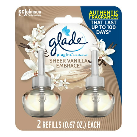 Glade PlugIns Refill 2 CT, Sheer Vanilla Embrace, 1.34 FL. OZ. Total, Scented Oil Air Freshener Infused with Essential Oils
