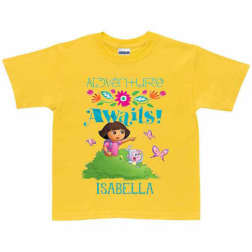 Personalized Dora the Explorer Adventure Awaits Toddler Girl T-Shirt, Yellow