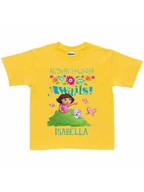 Personalized Dora the Explorer Adventure Awaits Toddler Girl T-Shirt, Yellow