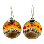 Tili Glass Earth Dawning Round Fused Glass Earrings with Sterling Silver