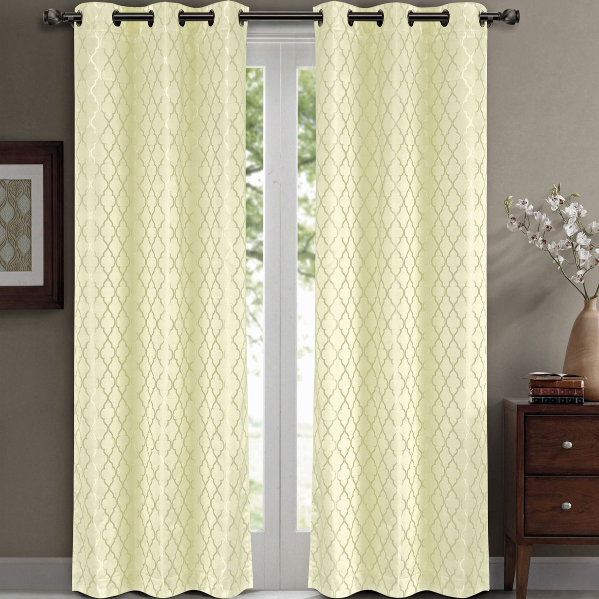 """Pair ( Set of 2) Willow Thermal-Insulated Blackout Curtain Panels - White - W84 x L63"""""""
