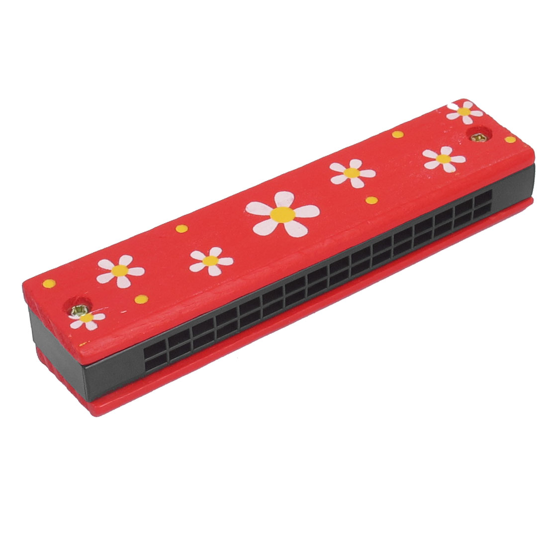 Wooden Harmonica Mouth Organ w Dual Rows 32 Holes Red Floral Pattern Educational Toy for Children