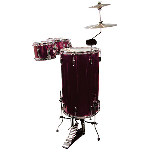 GP Percussion 3-Piece Cocktail Drum Set, Wine Red