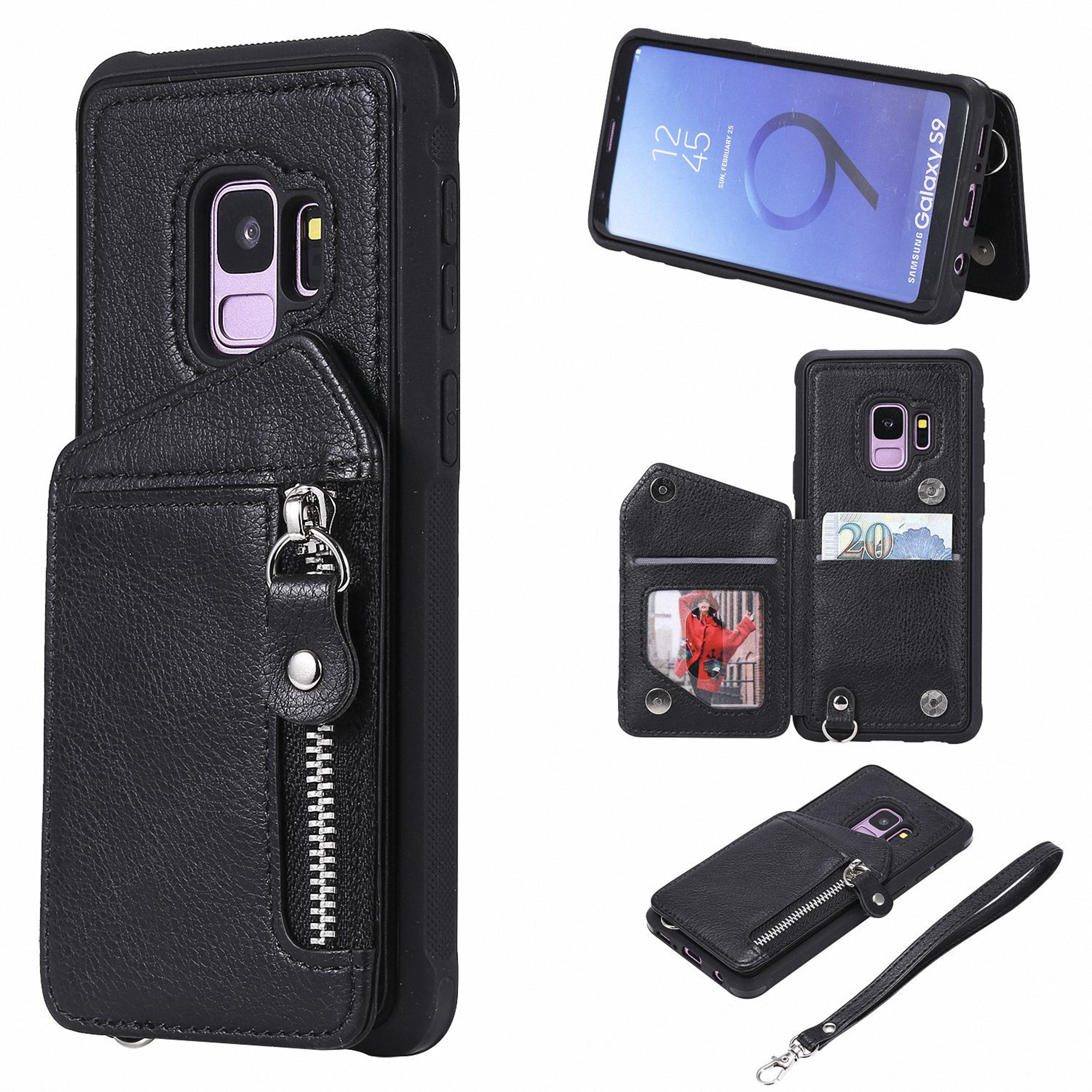 Galaxy S9 Case, Dteck PU Leather Zipper Wallet Back Kickstand Case Protective Cover With Card Slots For Samsung Galaxy S9, Black